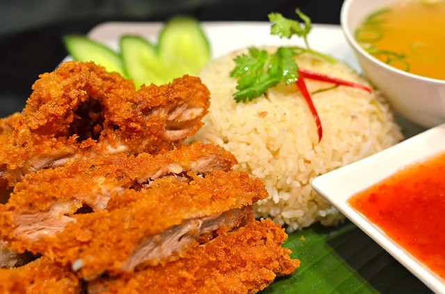 Crispy Fried Chicken with garlic and ginger rice